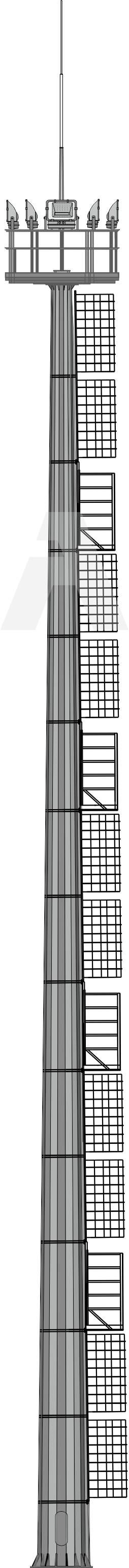 Lightning diverters based on high lighting masts with stationary service area (VGN)