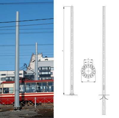 Octagonal heavy duty poles of the overhead contact network (OGSKS)